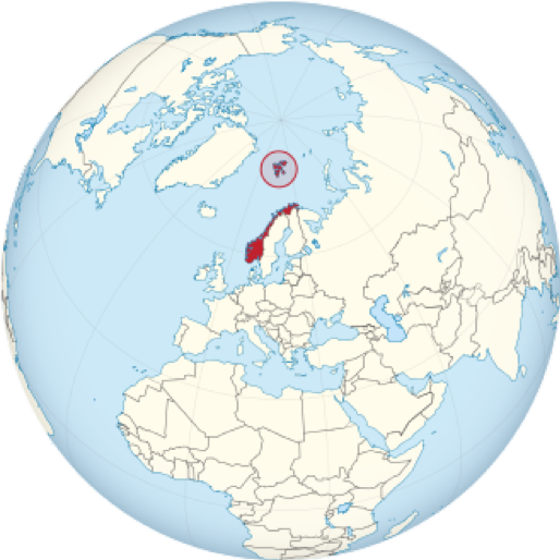 "Figure 1. Map showing Norway (in red) and Svalbard (the archipelago colored red within the circle). This view particularly shows the latter's proximity to the North Pole. Source: Wikipedia, ""Svalbard."""