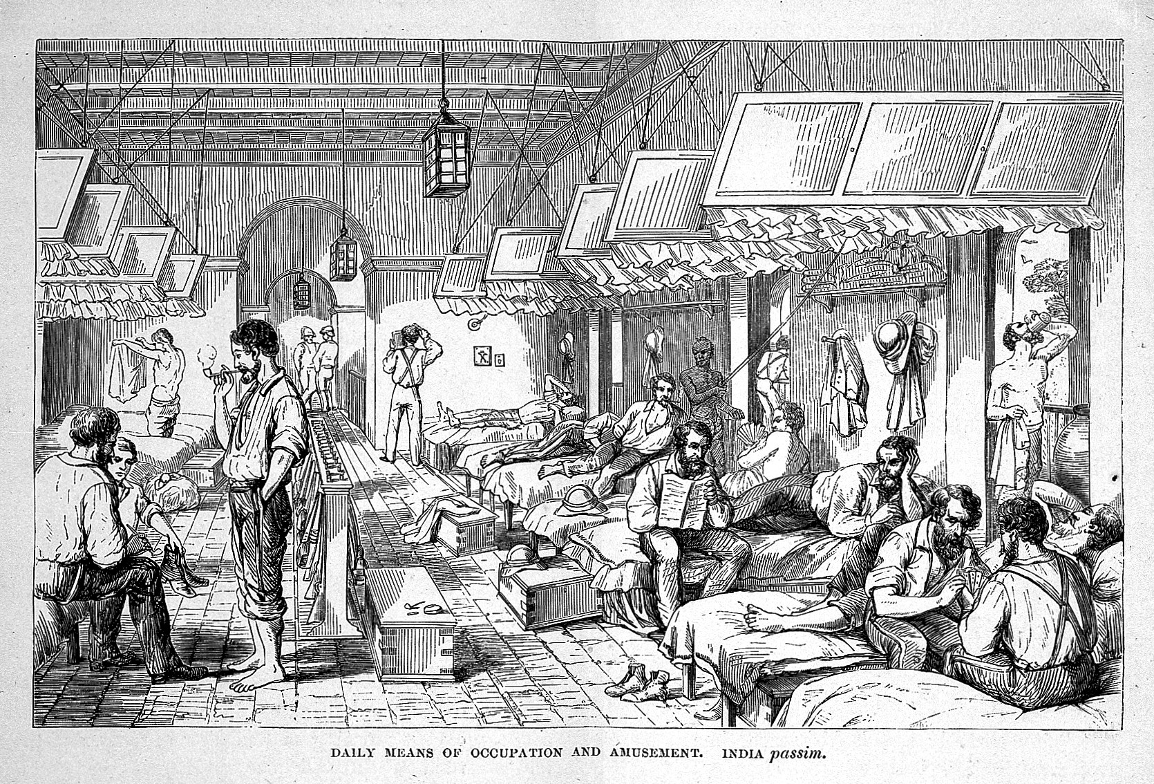 •	Fig. 4: Illumination of British Troops Barracks in India, n.d. The British Army at rest in their barracks; Wellcome Collection (2018-04-03): https://wellcomecollection.org/works/x9t2xex9; CC-BY.